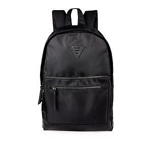 Black textured sporty backpack