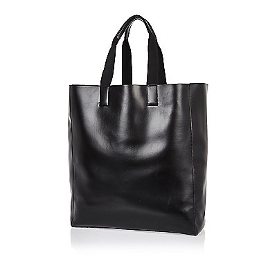BLACK MINIMALISTIC SHOPPER BAG