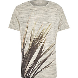 Ecru leaf placement print t-shirt