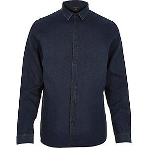 Dark wash smart minimal denim shirt
