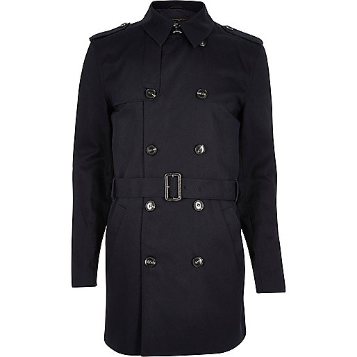 Navy double breasted military trench coat