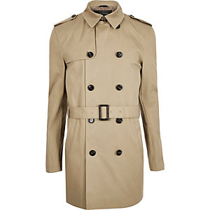Brown double breasted military trench coat