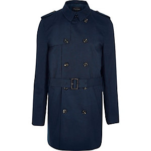 Dark blue smart double breasted trench coat