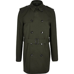 Dark green smart double breasted trench coat