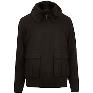 Black wool-blend harrington jacket