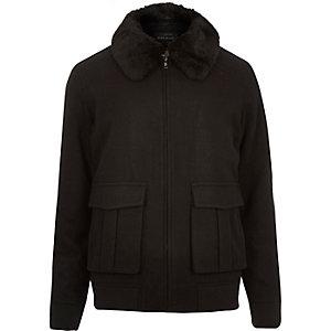 Black wool-blend harrington jacket