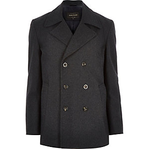 Grey smart wool-blend peacoat