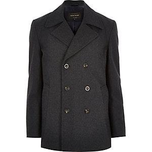Grey smart wool-blend pea coat