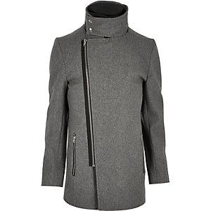 Grey wool-blend funnel neck jacket