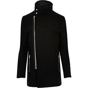 Black wool-blend funnel neck jacket