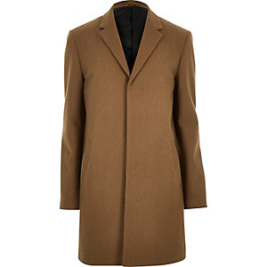 Brown wool-blend winter overcoat