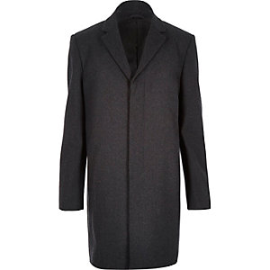 Dark grey wool-blend overcoat