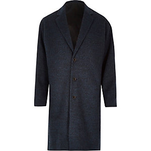 Blue smart wool-blend overcoat