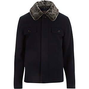 Navy faux-fur collar harrington jacket