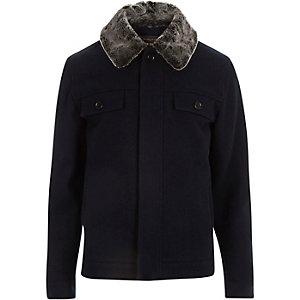 Navy faux-fur collar harrington jacket