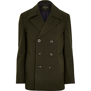 Green smart wool-blend peacoat