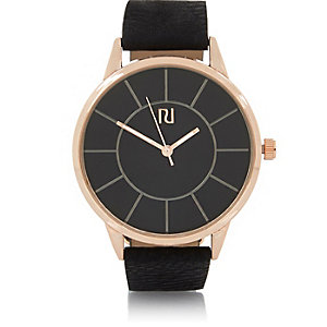 Black and rose gold simple watch