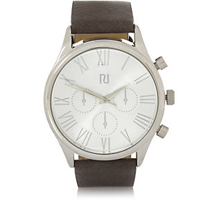 Grey silver tone Roman numeral watch
