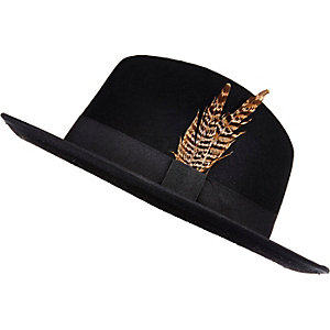 Black feather fedora hat