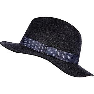 Navy tie trim fedora hat