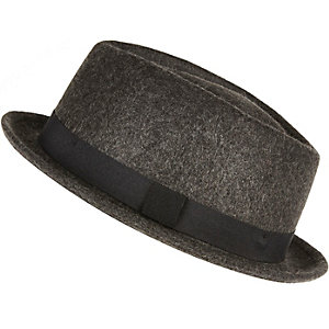Dark grey pork pie hat