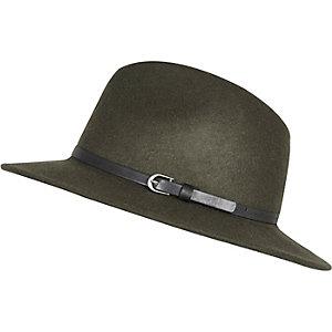Dark green felt fedora hat