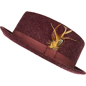Dark red feather pork pie hat