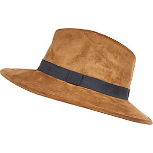 Brown faux-suede fedora hat