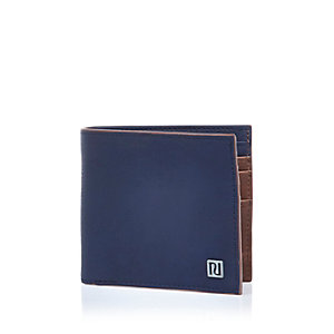 Navy and tan edged wallet