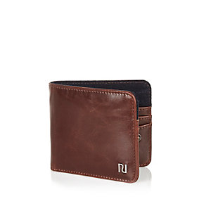 Brown foldover branded wallet
