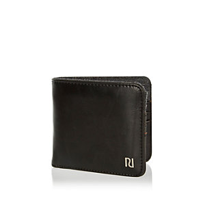 Black foldover branded wallet