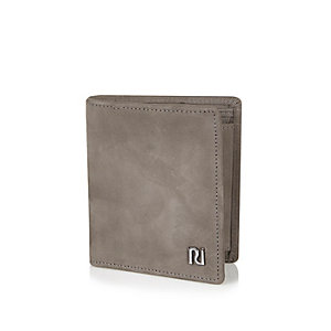 Grey leather 3-fold wallet