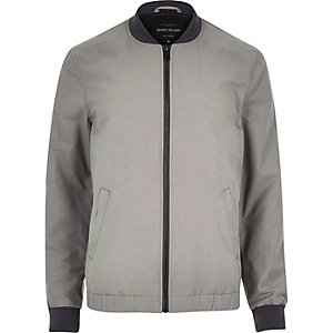 Ecru casual contrast neck bomber jacket
