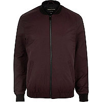 Red casual contrast neck bomber jacket