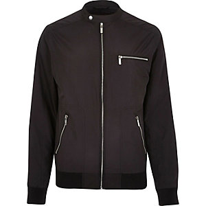 Black popper collar zip bomber jacket
