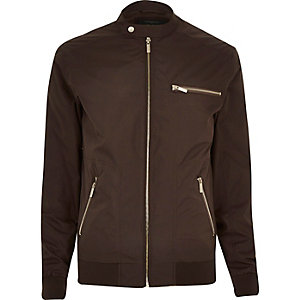 Dark brown popper collar zip bomber jacket
