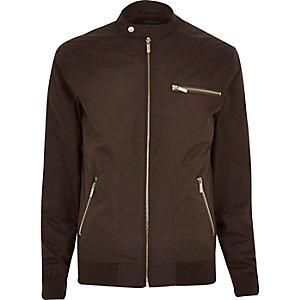 Dark brown popper collar zip bomber jacket