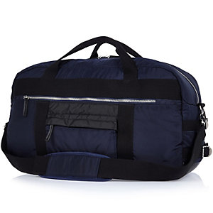 Blue nylon holdall bag