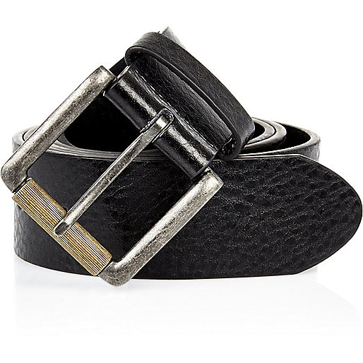 Black classic square buckle belt