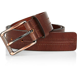 Brown leather centre seam belt