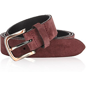Dark red suede belt