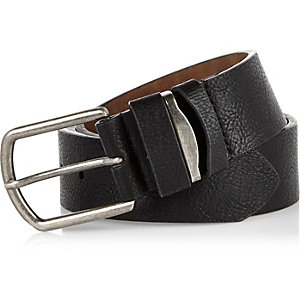 Black pebbled metal insert belt