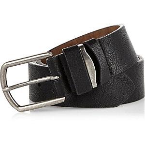 Black pebbled metal insert belt