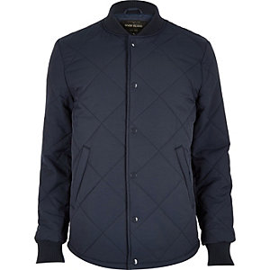 Navy quilted popper jacket
