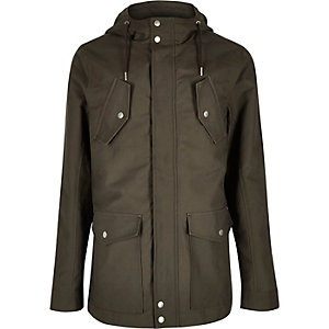 Khaki hooded casual jacket