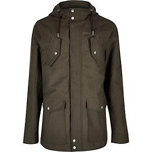 Khaki hooded casual jacket