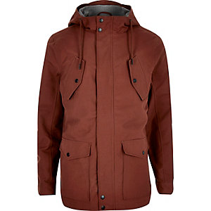 Rust brown hooded casual jacket