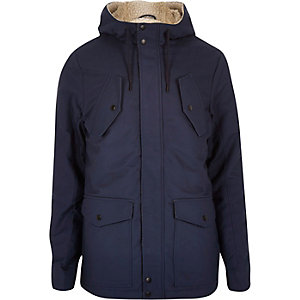 Navy borg lined winter coat