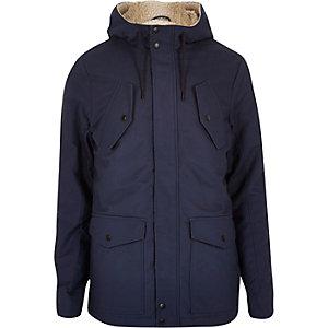 Navy borg lined winter coat