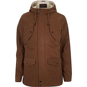 Rust brown fleece-lined winter coat